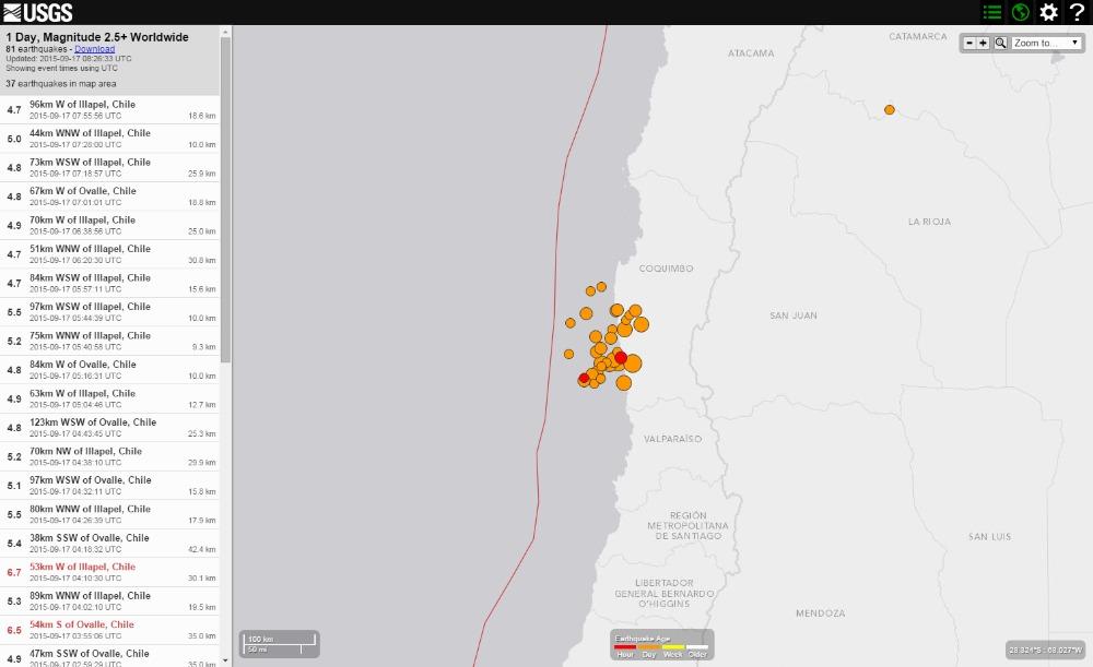 チリで発生したM8.3の大地震、その後M5クラスの余震が30回近くも…チリでは津波の高さ4.6mを観測