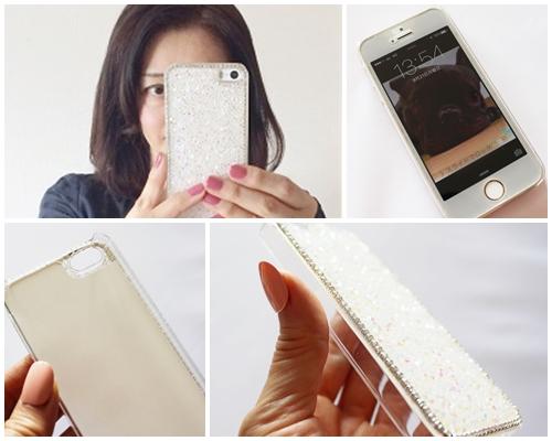 スマラボオンライン Phone5s/5用 ケース グリッターストーンケース ホワイト