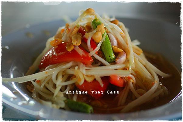 パタヤ Pattaya พัทยา タイ料理 Thaifood อาหารไทย ソムタムタイ 青パパイヤのサラダ somtamthai green papaya salad ส้มตำไทย