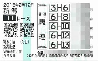 新潟記念馬券1