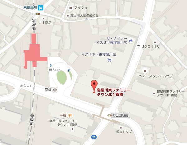 東寝屋川現地地図