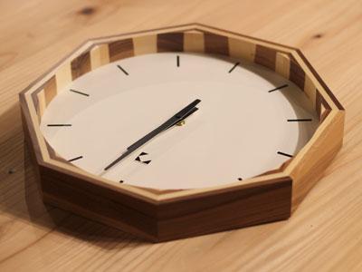 寄木の電波時計 インテリア雑貨