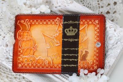 橙の本革キーケース