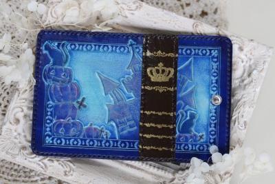 青い本革キーケース