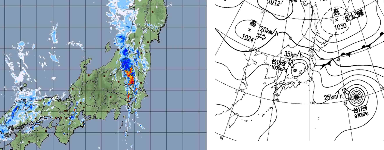 9月9日18時の高解像度ナウと気圧配置