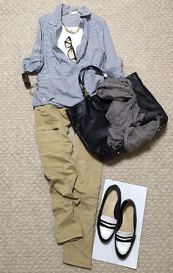 ストライプシャツ&アンクル丈パンツが一番安心します