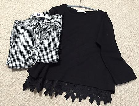 「UNITED ARROWS」の黒のプルオーバーと「GAP」のシャツです