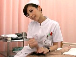 美人ナースが患者を淫語とスローハンド手コキで射精させる 横山美雪