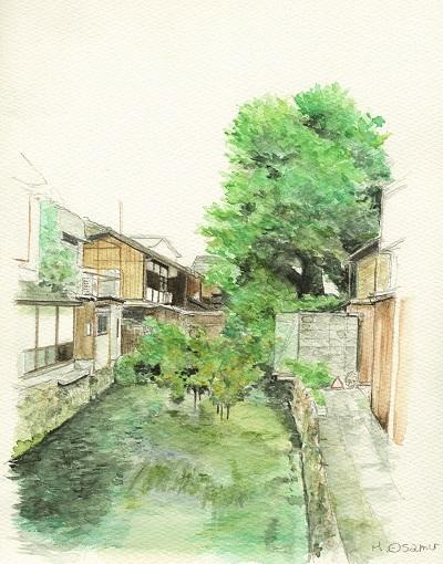 水彩画「白川橋その2」