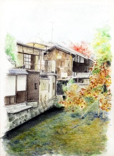 水彩画「白川橋その1」