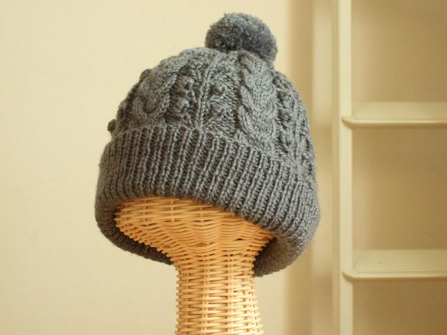 アラン模様の帽子・グレー