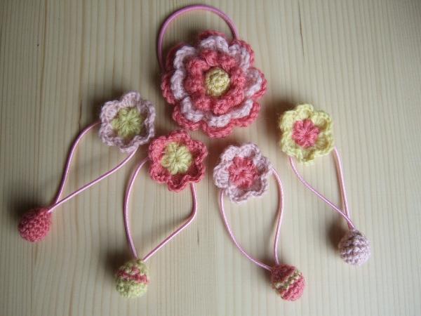 お花のヘアゴムセット