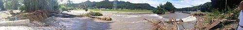 台風18号 災害<現地調査>!鹿沼市富岡地内 行川 富岡橋北の堰周辺②