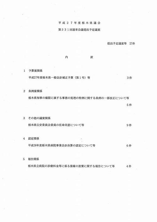 栃木県議会<第331回 通常会議>開議!③