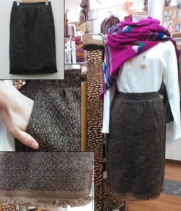 裾フリンジツイードスカート ¥2800+税