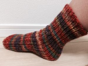 直線編み靴下(横①)