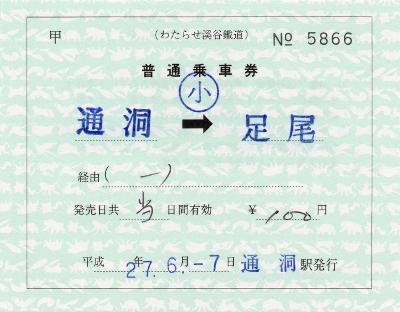 通洞→足尾(補充片道券)