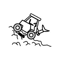 傾斜を走るホイールローダー