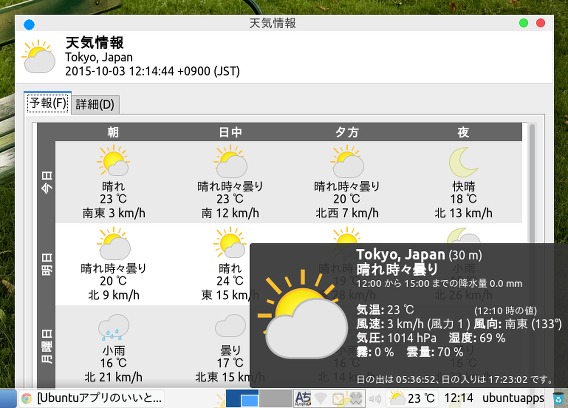 xfce4-weather-plugin Ubuntu Xfce パネル 天気