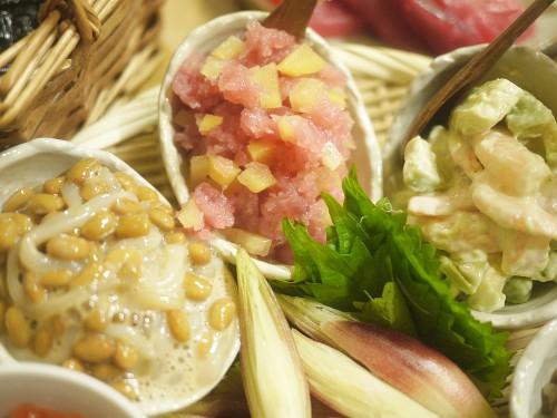 トロタク、イカ納豆、エビアボカドマヨネーズ