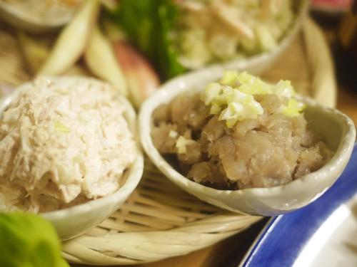 ツナマヨ、マグロのゴマ塩ユッケ