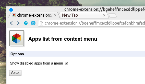 Apps list from context menu Chrome拡張 オプション 無効なアプリの表示