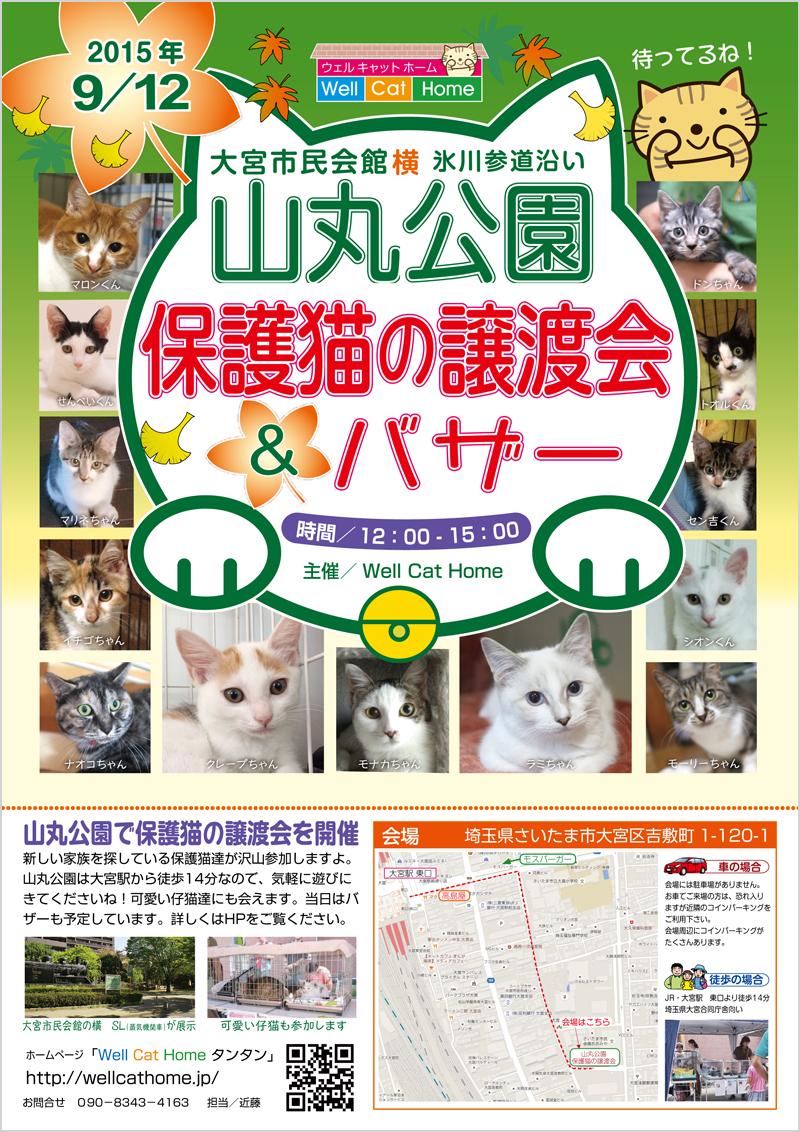 山丸公園「保護猫の譲渡会」のチラシ