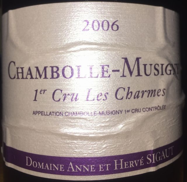 Chambolle Musigny Les Charmes Domaine Anne et Herve Sigaut 2006