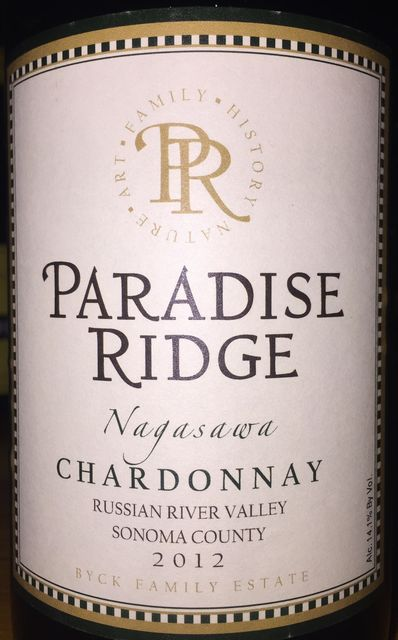 Paradise Ridge Nagasawa Chardonnay Russian River Valley Sonoma County 2012