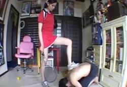 【M男】美人テニス選手のM男練習台