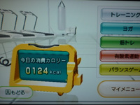 Wii Fit Plus 2015年09月08日のトレーニングのカロリー 124kcal