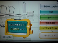 Wii Fit Plus 2015年09月10日のトレーニングのカロリー 95kcal
