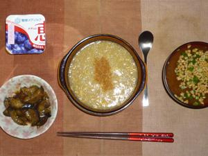 鶏雑炊,茄子のみぞれ煮,納豆汁,ヨーグルト