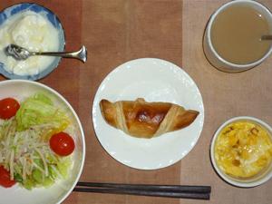 ミニチョコクロワッサン,サラダ(キャベツ、大根、トマト)),スパニッシュ風オムレツもどき,オリゴ糖入りヨーグルト,コーヒー(豆乳)