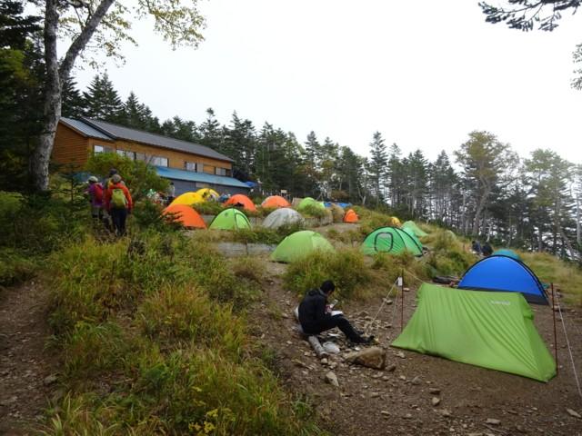 9月19日 三伏峠小屋のテン場