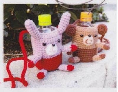 887ダルマカフェキッチンクマさんとウサギさんのペットボトルカバー
