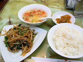 梅蘭の豚肉とニラの炒め物定食