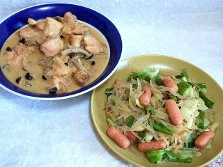 150929_3505鶏もも肉としめじのクリーム煮・モヤシ炒めVGA