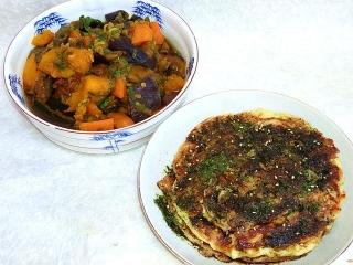 151016_3536かぼちゃと茄子の煮物・お好み焼きx2VGA