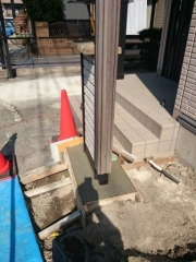 岐阜県多治見市駐車場改修工事機能門柱基礎補強コンクリート