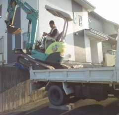 多治見市新築外構重機搬入