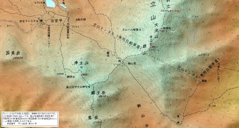 地図 立山トンネルトロリーバス