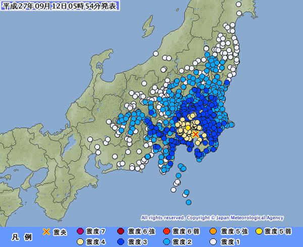 東京で震度5弱 M5.3 震源地は東京湾 深さ約70km…関東地方の広範囲が揺れる