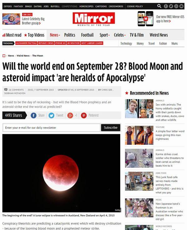 【ブラッドムーン予言】9月22~28日に終末が訪れる…厄災が引き起こされ、人類滅亡へ