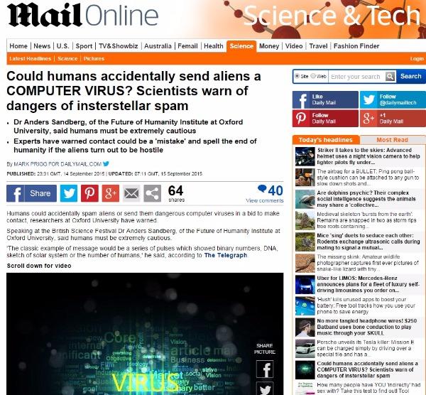 オックスフォード大・博士「地球外へ送信するメッセージは宇宙人にとってウイルスやスパムに思われている」可能性があると警告