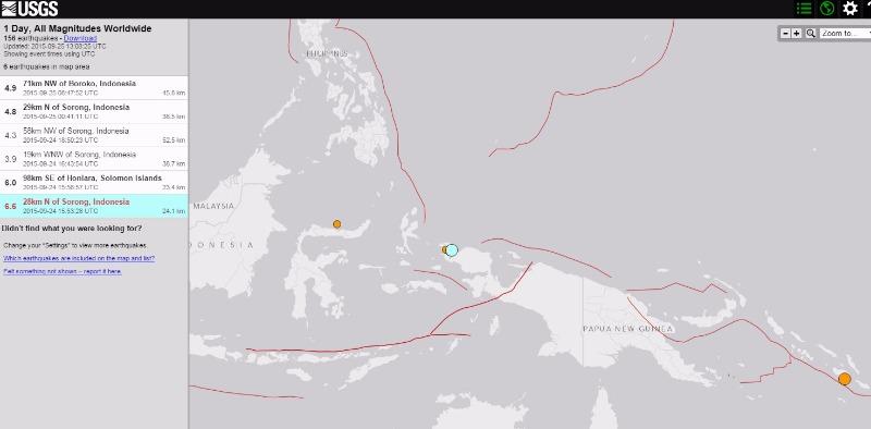 【インドネシア】パプアニューギニアでM6.9の地震発生