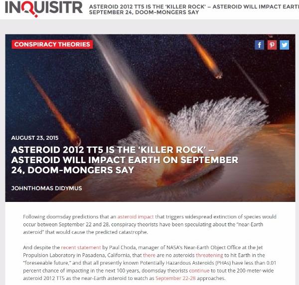 小惑星「2012 TT5」が24日地球の近くを通過 → NASA「地球に何らの脅威も影響もありません。安心して下さい。」