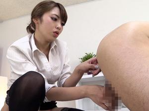 四つん這いで前立腺を責めながらモーモー手コキするM男専用エステサロン 桜井あゆ