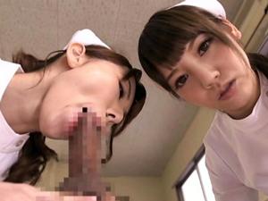 痴女ナース2人が患者をフェラ抜きしてザーメンを口移し 波多野結衣 みづなれい