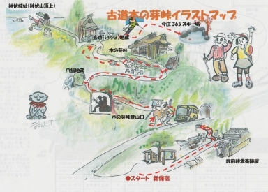 古道木の芽峠イラストマップです。